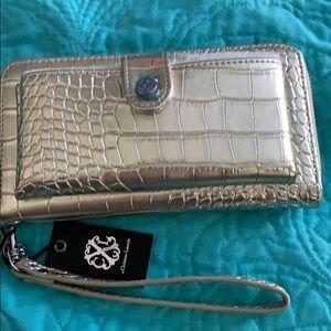 NWT Christian Lacroix gold faux croc pocket wallet